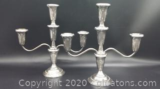 Empire Sterling Silver Candlestick Pair