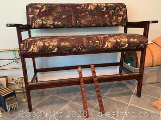 Bar Height Billiard Bench and Cue Rack