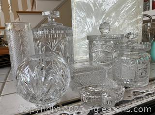 Collection of Crystal and Glass Boxes and Jars