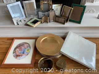 Charger, Brass Trinket , Frames and Albums