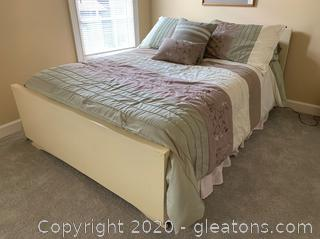 Chalk-Painted Full Size Bed Frame on Wheels Includes Clean, Barely Used Mattress and Bedding