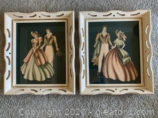 Antique Replica Wall Art in Carved Wooden Frames