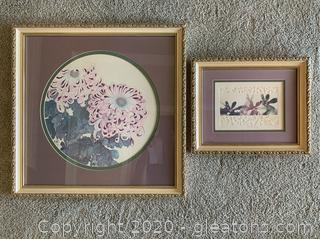 Framed Asian Floral Still Life and Signed, Numbered Print