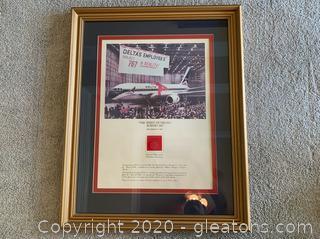 Framed Delta 767 Memorabilia
