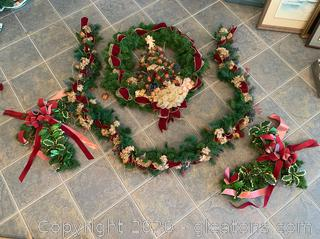 Hand Made Christmas Garland and Wreath