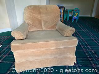 Camel Colored Velveteen Chair