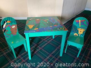 Jungle –Theme Painted Kids Table and 2 Chairs