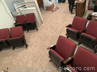 4 Pairs Traditional Theater Seats with Carpeted Base