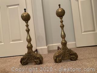 Ornate Brass Adirons