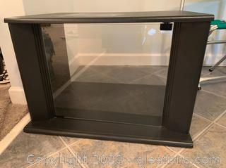 Black T.V. Printer Stand with Glass Door Storage
