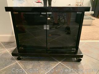 Black Lacquer Rolling Printer  Stand or Entertainment Center