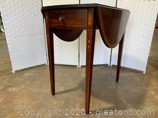 Inlaid Wood Drop Table