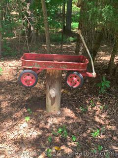 Red Wagon Decorative Yard Art