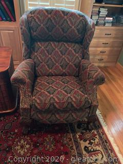 Vintage Bradington Young Chippendale Recliner (A)
