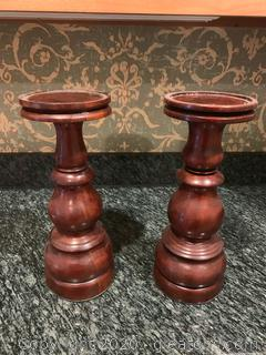 Hand Carved Indonesian Candle Holders