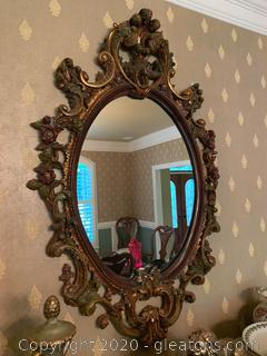 Hand Carved Mahogany Mirror