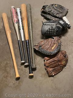 Assortment of Baseball Bats & Mits