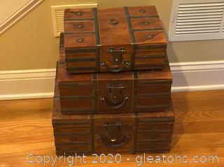 Antique Stackable Storage Chests