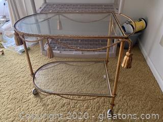 Vintage Glass Tea Cart