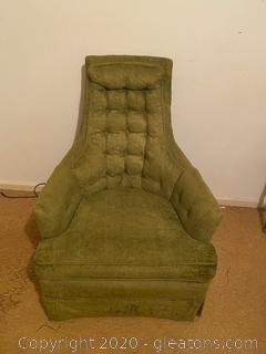 Vintage Green Fleece Arm Chair