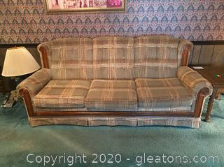 Vintage Plaid Highback Couch