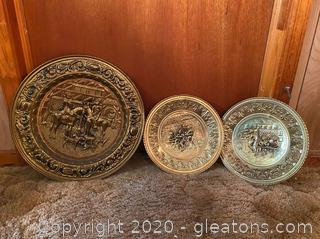 Vintage Brass Colored Decorative Wall Plates