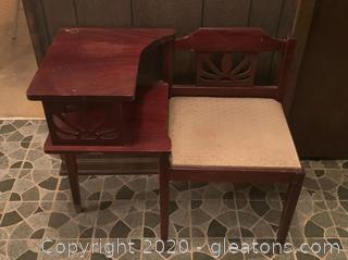 Antique Telephone Table with Gossip Chair