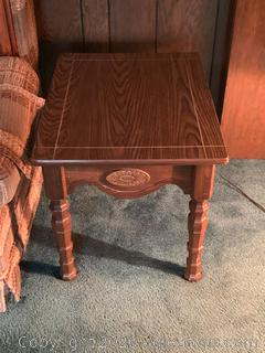 (B) Vintage Hard Wood End Table