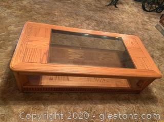 Vintage Hardwood and Glass Coffee Table