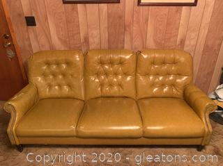 Vintage High Back Georgian Style Tufted Leather Sofa