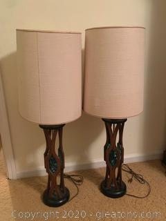 Vintage Wooden and Faux Stained Glass Table Lamps