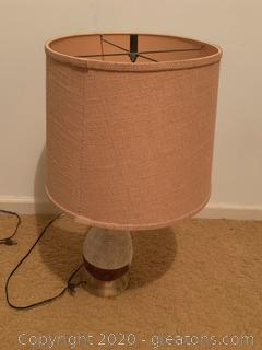 Hand Painted Porcelain Table Lamp with Twine Shade