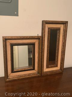 Pair of Wooden Wall Hanging Mirrors