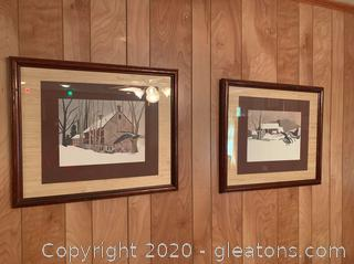Handerson Northern Landing Goose Winter Barn Scene Framed Art
