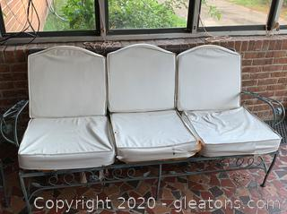 Wrought Iron Patio Couch and Table