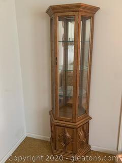 Vintage Lighted Mirrored Curio Cabinet