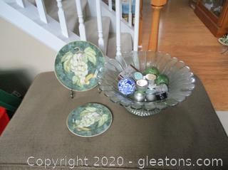 Extra Large Green Glass Centerpiece Bowl