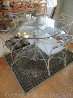 Vintage Glass top Wrought Iron Breakfast Table with 4 Chairs
