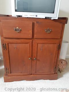 Vintage Cabinet / TV Stand with 2 Drawers + Shelves