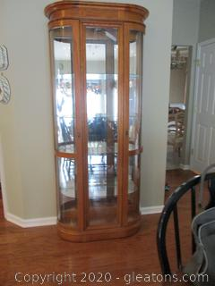 Lighted Curved Glass Curio Cabinet