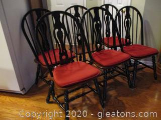 6 Windsor Pierced-Splat Back Dining Chairs