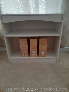 Small White Book Case with Adjustable Shelves + Wood Magazine Holders