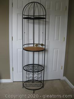 Metal and Wood Round Bakers Rack with Wine Storage
