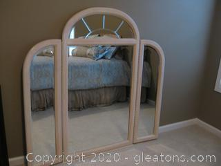 Tri-Fold Mirror with Whitewashed/Pickled Oak Finish