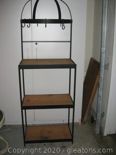 Wood and Metal Bakers Rack with Pot Hooks