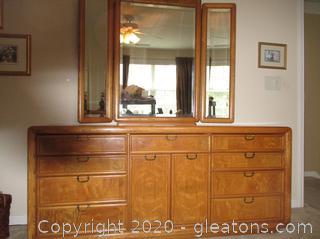 Vintage Mid Century Broyhill Dresser with Trifold Mirror