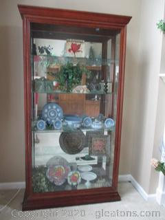 Side Open Lighted Curio Cabinet