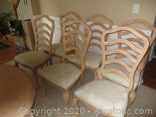 French Country Ladder Back Dining Chairs - Set of 6 - Blond Ash Finish