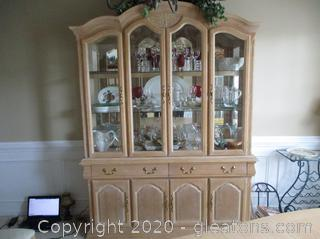 French Country China Cabinet - Blond Ash Finish