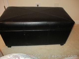 Black Leather Look Storage Chest